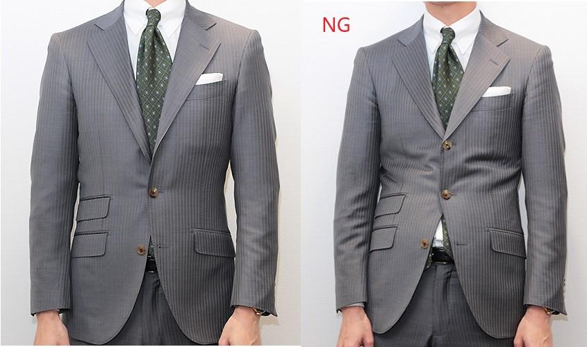 3ボタン段返りスーツのボタンの留め方