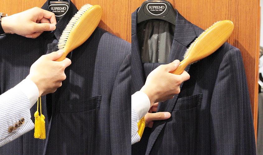 襟や襟脇の部分にブラッシング