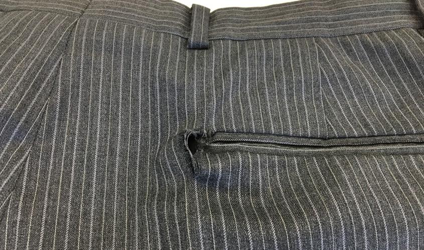 スラックスのポケットの破れやぶれと裂けの修理