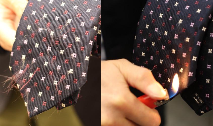 ネクタイ ライター あぶり