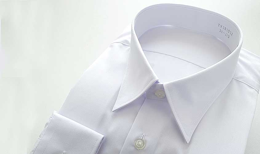 お葬式用のブロードの白無地ワイシャツ