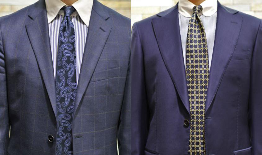 スーツとネクタイの襟幅
