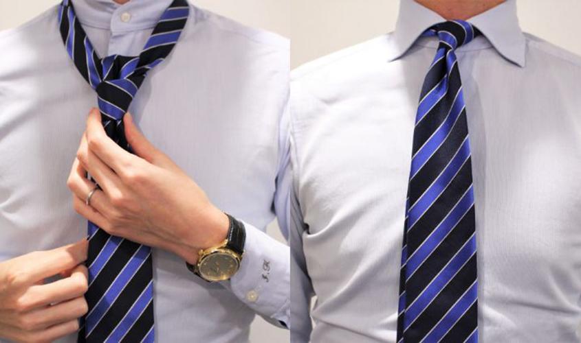 プレーンノットのネクタイの結び方⑤